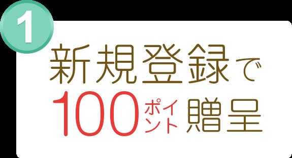 新規登録で100ポイント贈呈